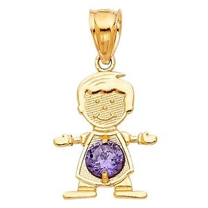 14kY Gold February Birthstone CZ Boy Pendant